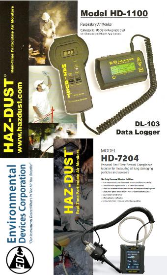 Máy đo bụi khí dung HD1100 và HD7204 hãng EDC-Environmental Devices Corporation _Haz Dust do công ty Ngày nay đại diện nhập khẩu và phân phối